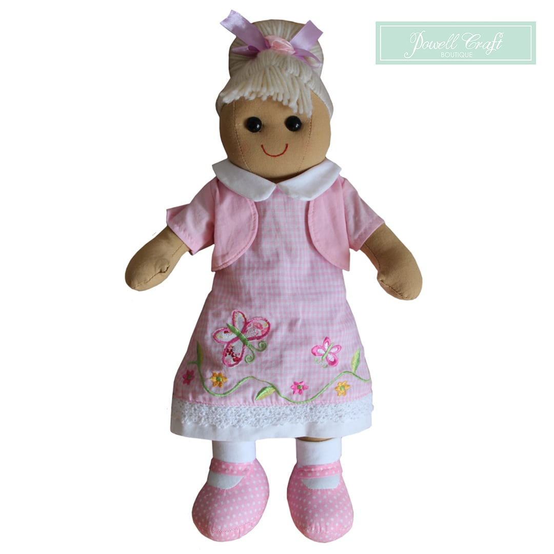 Pink Butterfly Dress Rag Doll Powell Craft Boutique Mary Shortle