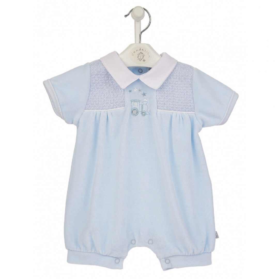 Mary Shortle The Ingham Family Jace Train Velour Smocked Romper