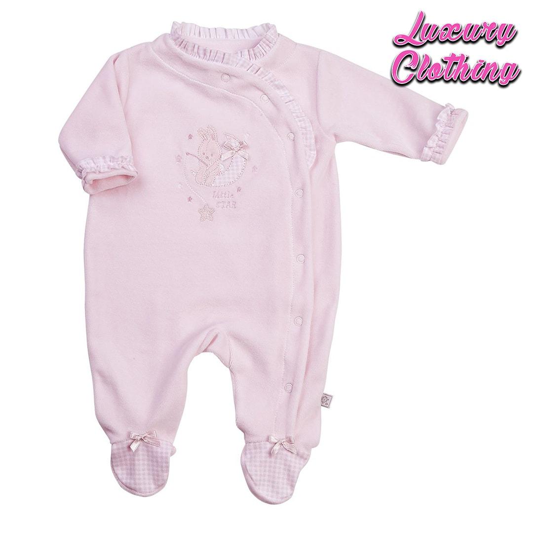 Bunny Velour Sleepsuit Luxury Clothing Mary Shortle
