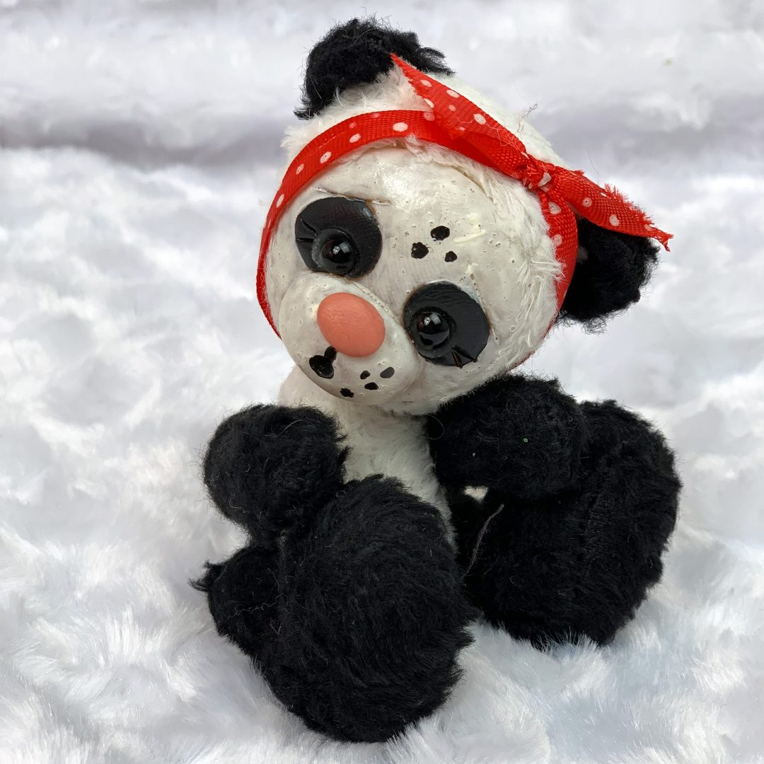 Panda Nica Bears Plush Clay Sculpted Face Mary Shortle