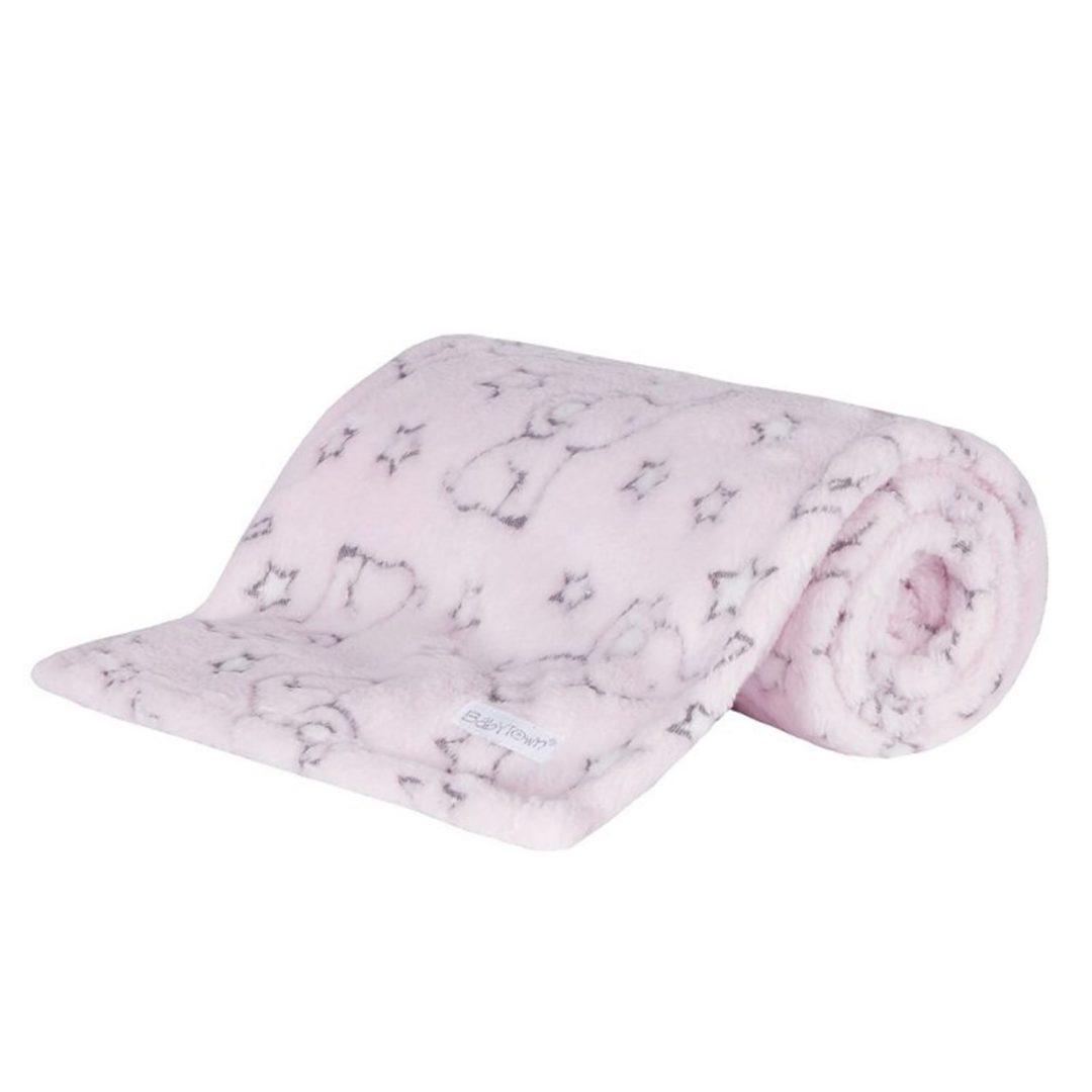 Deluxe Baby Elephant Baby Pink Blanket