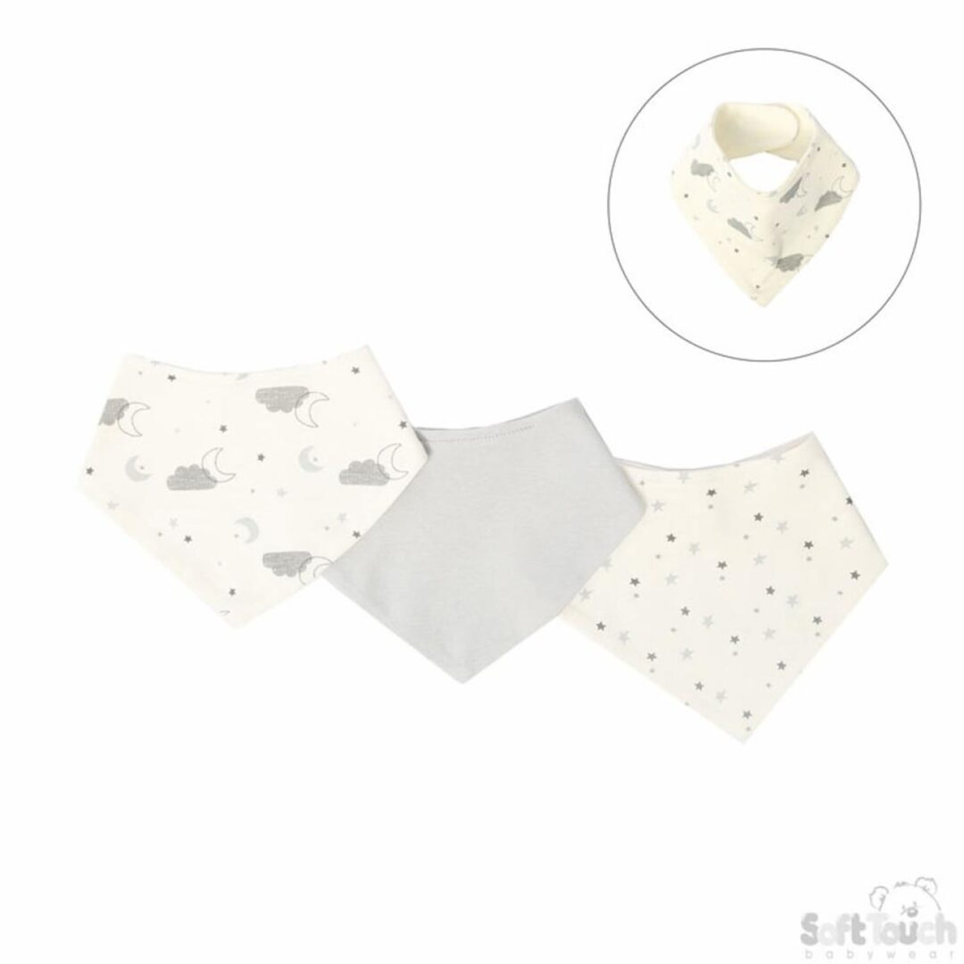 Triple pack Bandana Bibs Clouds-min