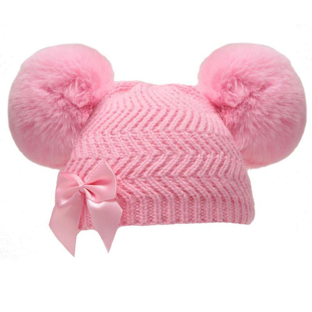 Pink Double Pom Pom Hat-min