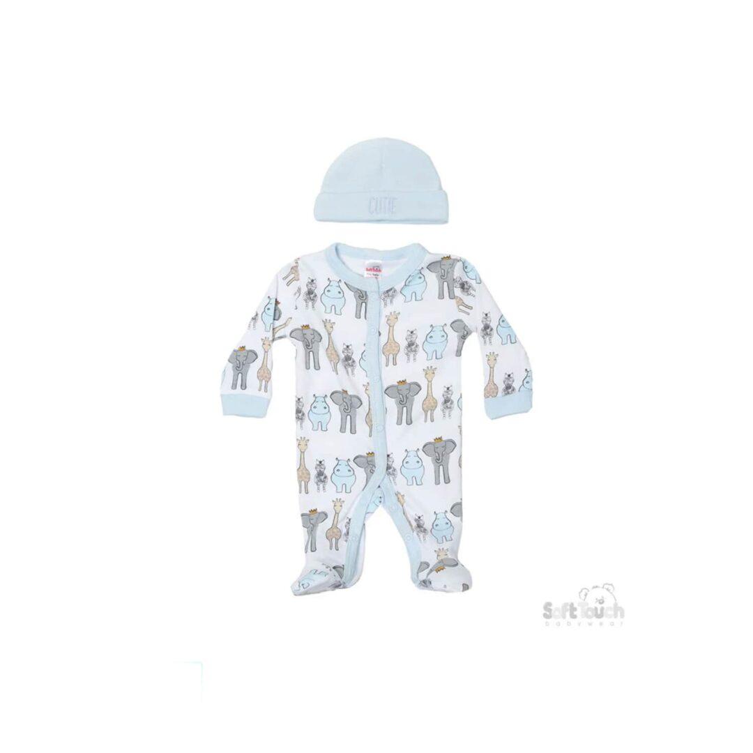 Blue Safari Babygrow and Hat-min