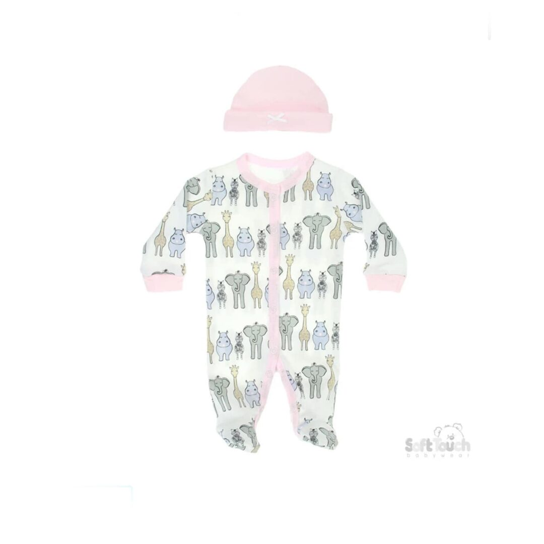 Pink Safari Baby Grow and Hat-min